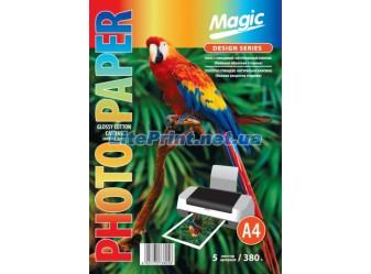Magic - Глянцевый холст натуральный хлопок (бежевая обратная сторона) 380 гм2, A4, 5 листов