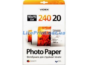 Videx - Глянец 240 гм2, 10x15, 20 листов